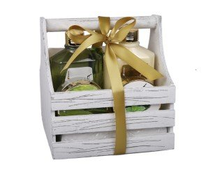 Peppermint Bath & Body Care Gift Set – 5pc Scented Stress-Relief Aromatherapy Home Spa Essentials Pamper Kit in Wooden Basket – Argan Oil Shower Gel, Lotion, Scrub, Salts & Exfoliating Sponge
