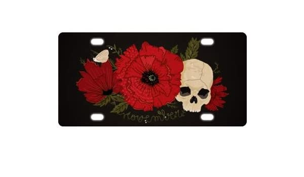 Decorative Day Of The Dead Sugar Skull Design Durable And Strong Aluminum Car License Plate 12 X 6