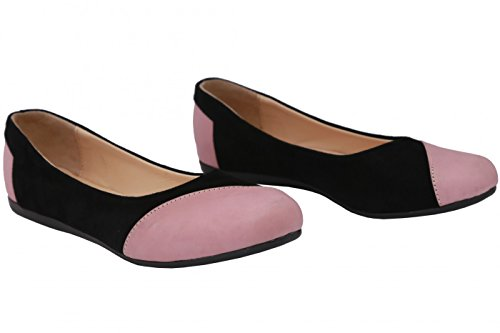 Wear Flats Ballet Pink Black and Leather German in Smooth Suede Shoes 4qwC4S