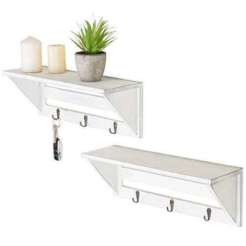 MyGift Set of 2 Vintage White Wood 16-Inch Wall Shelves with Key Hooks ()