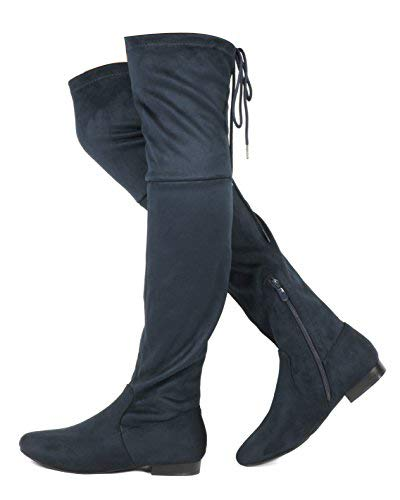 DREAM PAIRS Women's Pauline Dark Blue Faux Suede Over The Knee Boots Size 8 M US