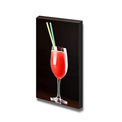 Canvas Prints Wall Art - Tasty Red Cocktail with 2 Straws Beverage/Wine Photograph | Modern Wall Decor/Home Decoration Stretched Gallery Canvas Wrap Giclee Print & Ready to Hang - 18
