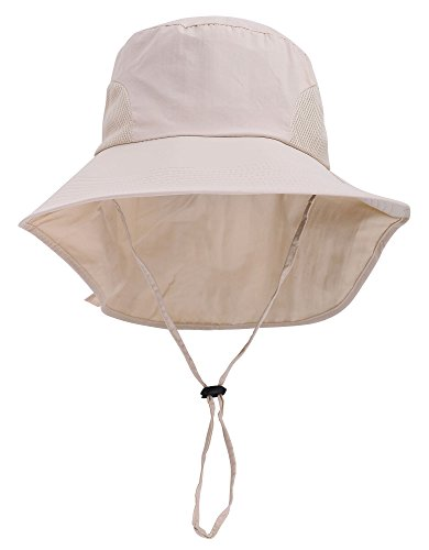(Women's Large Foldable Canvas Sun Hat with UPF 50+ Bow Decoration Cream)