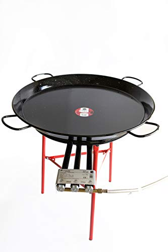 (Paella Pan Enamelled + Paella Gas Burner and Stand Set - Complete Paella Kit for up to 40 Servings (Nonstick))
