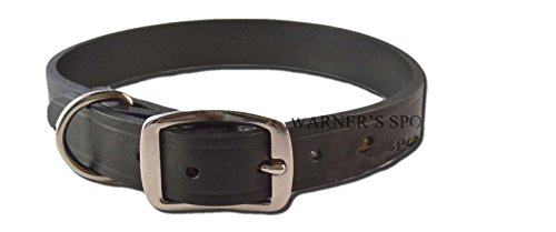 "Warner Brand Cumberland Leather Dog Collar + FREE Engraved Brass ID tag (19"" Fits 13-17"" Neck, Black)"