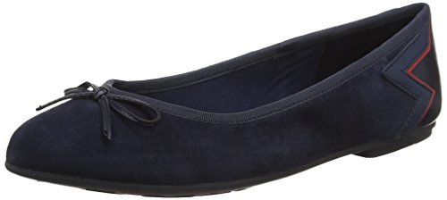 Tommy Hilfiger Women's Elevated Suede Ballerina Ballet Flats Blue (Tommy Navy 406) cheap sale shop for TLXY80y