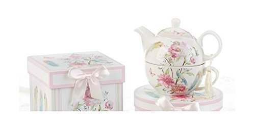 Delton Products Feather & Floral 5.8 inches Porcelain Tea for One in Gift Box Serveware -