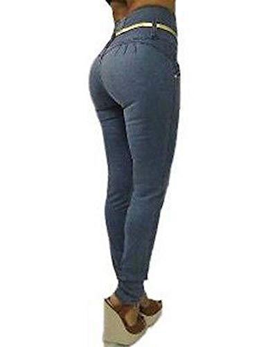 Cintura Skinny Flacos Leggings Quge Pantalones Elásticos Mujer Alta De Azulgris Slim 60xwqfSw
