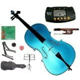 Merano MC100BL 4/4 Full Size Blue Student Cello Bag and Bow with 2 Sets of Strings