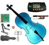 Merano MC100BL 4/4 Full Size Blue Student Cello Bag and Bow with 2 Sets of Strings by Merano