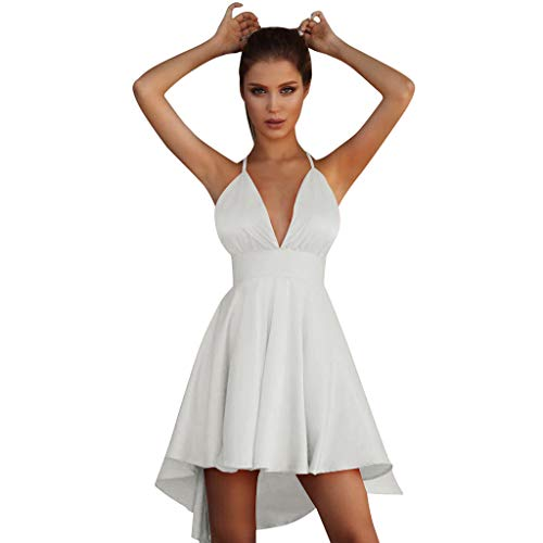 Sunhusing Ladies Solid Color Deep V-Neck Backless Cross Strappy Lace-Up Dress Holiday Sexy Sleeveless Sundress White