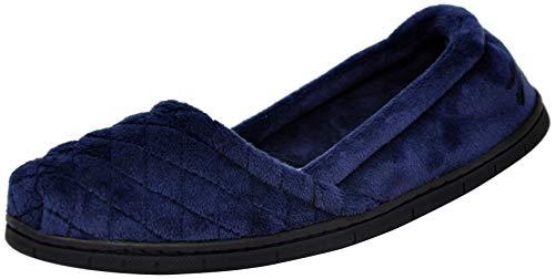 Dearfoams Womens Microfiber Velour Espadrille Slippers (Medium, Peacoat) (Slippers For Women Blue)