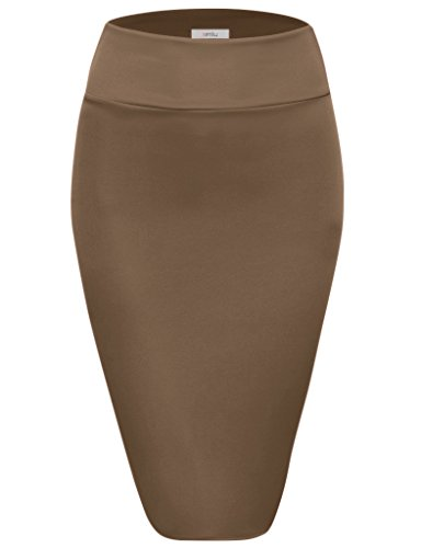 - Simlu Scuba Pencil /Midi Bodycon /Below Knee /Office Skirt High Waist, Mocha X-Large