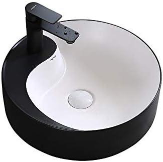 洗面ボウル 太極拳ラウンド黒と白の上カウンター容器シンク浴室ホーム陶芸盆地 浴室の台所の流し (Color : Black/white, Size : 43.5x43.5x14cm)