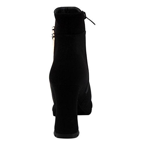 Enmayer Donna Tacchi Tacchi Tacchi Alti Tallone Antumn & Inverno Tacco Alto Stivaletti Scarpe Per Donna Nero # G3