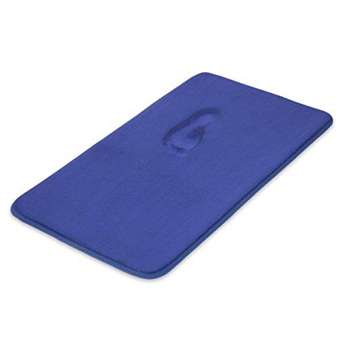 ITSOFT Memory Foam Bath Mat Non Slip Absorbent Super Cozy Velvet Bathroom Rug Carpet, Machine Washable, 19 X 34 Inch Royal Blue