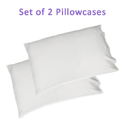 Silk Pillowcases, White Standard/Queen Pillow Covers (Set of 2) for Hair Beauty, Less Wrinkles, Dry Skin Relief - Hypoallergenic Premium 100% Pure Silk (25 Momme) - Great Gift Idea for ()