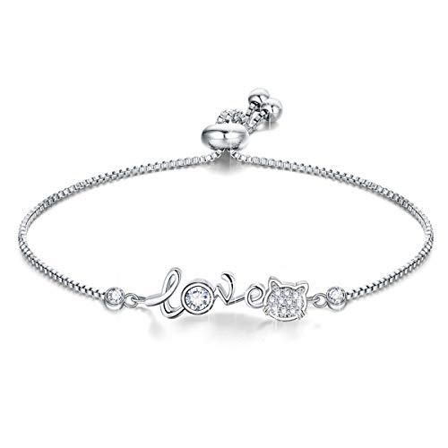 - Junolla Cat Silver Bracelet Platinum Plated Bracelets for Women Girls Happy Birthday Gifts Lovely Bracelet Adjustable Fashion (Love Kitty)