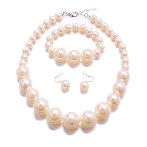 MJULY Women Big Faux Pearl Necklace Bracelet and Earrings Set Large Pearl Jewelry (Ivory)