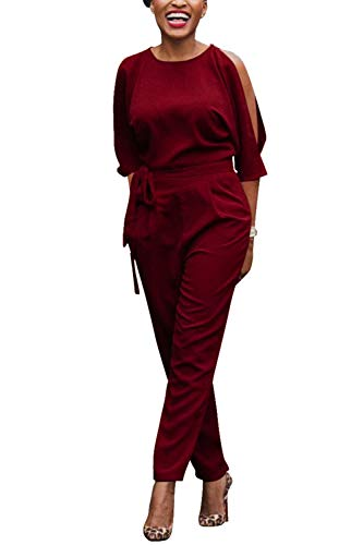 Femmes Combinaisons Nu avec Rouge Pantalons Ceinture Kelice Epaules Longues Combi Dos B0qfAd7n
