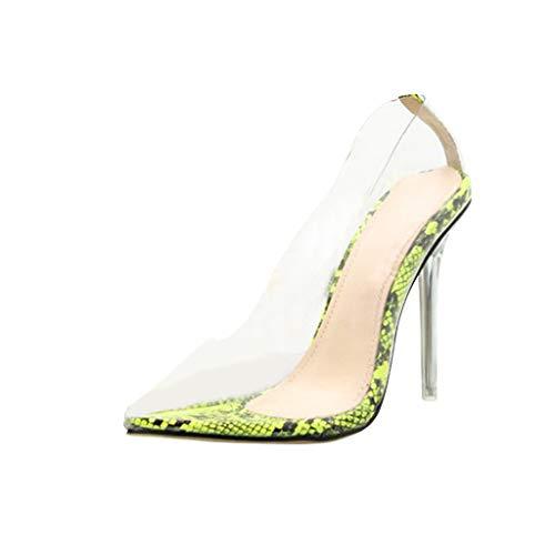 Orangeskycn Sexy Summer High Heel Sandals Snake Print Texture Crystal Slim Plus Size Women Transparent Single Shoes -