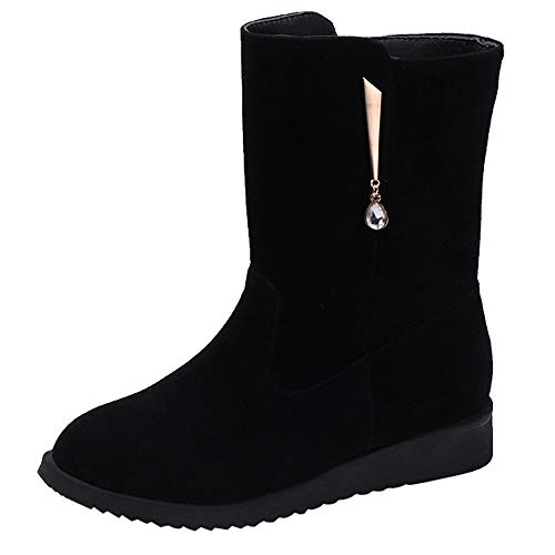 Suede Boot Black Women Holywin Middle Zipper Shoes Rhinestone Martin Booties Tube Flat Boots SpAqBFO