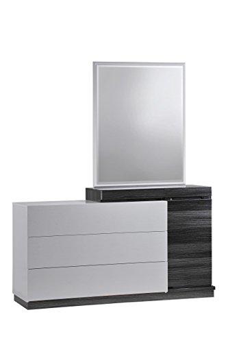 Global Furniture Lexi Dresser, Silver Line and Zebra Grey