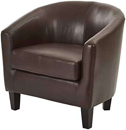 Wood & Style Office Home Furniture Premium Ethan Tub Chair in Deluxe Cocoa Vinyl Fabric