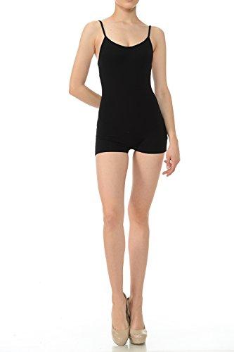 7Wins Women Catsuit Cotton Lycra Tank Spaghetti Strapped Short Yoga Bodysuit Jumpsuit S-Plus (Small, Black) ()