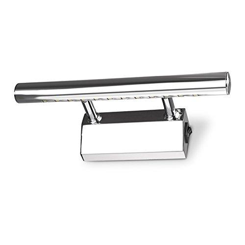 tioodre moderna de acero inoxidable 3W Espejo del baño la luz de la lámpara de pared 5050SMD LED 25centímetros de longitud blanco frío con interruptor para el maquillaje espejo dormitorio baño Dresser AC 85–265V