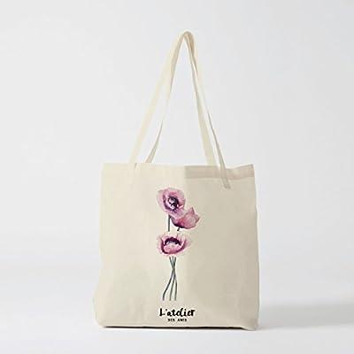 Bolso de la compra de algodón, bolsa de lona con diseño de flores ...