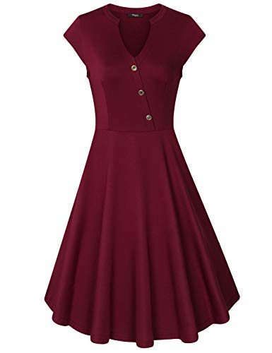 (Ckuvysq Women's V Neck Cap Sleeve Buttons Flared A Line Summer Casual Cocktail Swing Dress for Young Girls and Beautiful Ladies (XL, Wine))