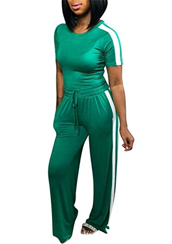 LROSEY Women Casual Bodycon Short Sleeve Shirts Stripe High Waisted Flare Bell Bottoms Trousers Set Two Piece Outfits Plus Size