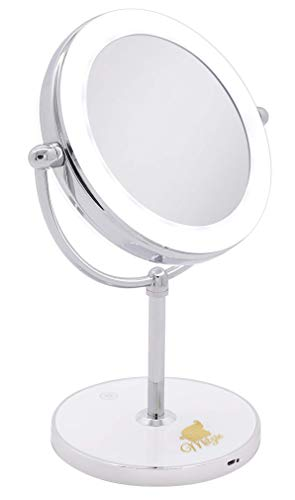 Milzie Portable Double Sided Vanity Makeup Mirror with Natural White LED Lights, 1x/10x Magnification Lighted Makeup Mirror for Bathroom or Bedroom Countertop, with Rechargeable Battery and Wireless