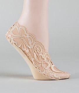 Calvin Klein Women's Ballet Time Fashion Lace Liner, Cream, One Size - Calvin Klein Lace Socks