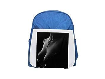Decollete, sujetador, sección, cadena, mochila azul estampada para niños, mochilas lindas