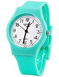 Sunshine Boys Girls Watches,Teenagers Kids Student Time Wrist Watch Soft Comfortable Silicone Band Mini (Light Green)