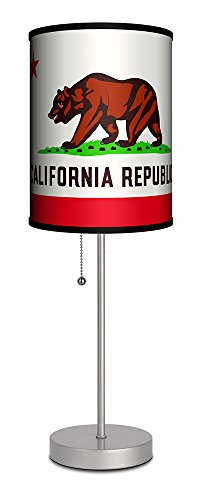 Lamp-In-A-Box SPS-TRV-FLGCA Travel-California Republic State Flag Silver Sport Lamp 7'' x 7'' x 20'' by Lamp-In-A-Box