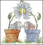 14 Count Charted Cross stitch Flowerpot Bunnies 26x27cm by XYCS
