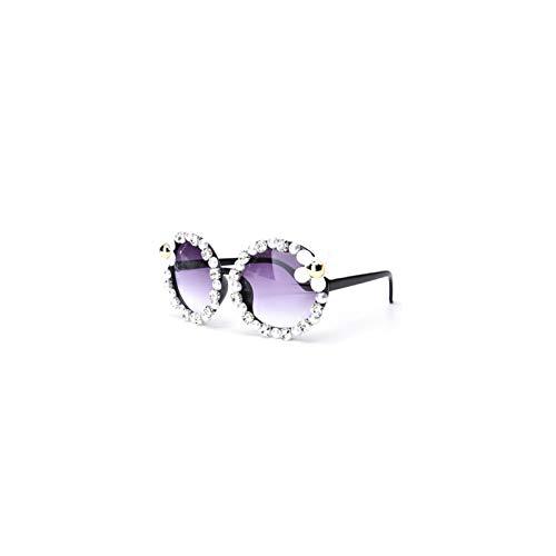 Beach Fashion Sonnenbrille Rhinestones Shades Sunglasses Handmade Blume Perle Rund (Runde Shades)