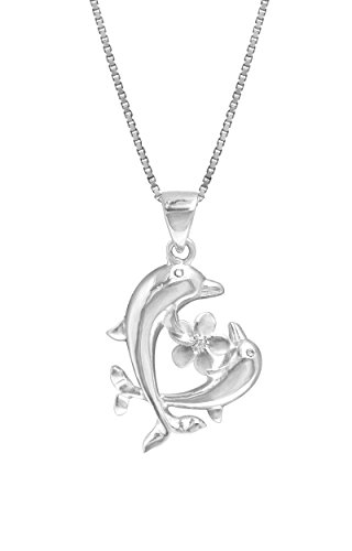 Sterling Dolphins Plumeria Necklace Pendant