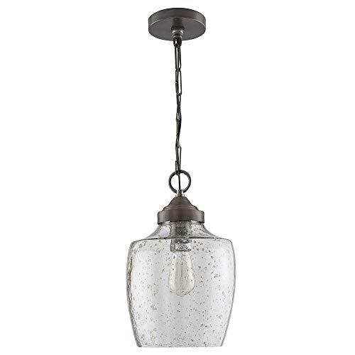 Pewter Finish Glass Pendant Lamp - Austin Allen & Co 330414PW 8.75