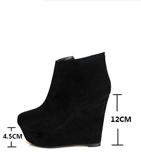 KHSKX Chaussures De Fille Pente En Nu Imperméable Pendant Noir Épais Pente Taiwan Faux Le La Mat Printemps La Ultra Et 12Cm Avec Cuir Haute Avec Avec Des Bottes Sauvage 39 Bottes Jeune L'Automne qPrXPEw