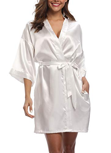 (Old-Times Women's Pure Color Silk Kimono Short Robes for Bridesmaids and Bride White)