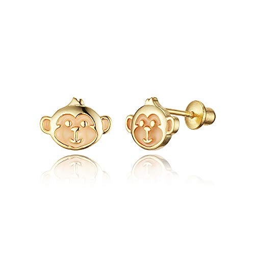 14k Gold Plated Enamel Monkey Baby Girls Screwback Earrings with Sterling Silver Post ()