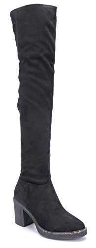 Schuhtempel24 Damen Schuhe Overknee Stiefel Stiefeletten Boots Blockabsatz 8 cm Schwarz