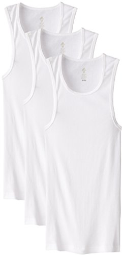 (adidas Men's Athletic Comfort Ribbed Tank Underwear (3-Pack), White,)