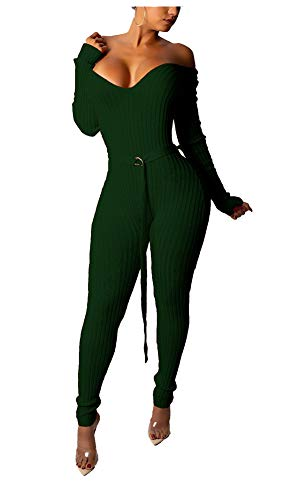 ng Sleeve Off Shoulder V Neck Ribbed Knit Sweater Jumpsuit Bodycon Skinny Long Pants Party Club Romper Playsuit Jumper Green, Medium ()