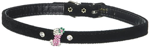 Mirage Pet Products Pink Stocking Charm Collar for Dogs, 16-Inch, Black Velvet