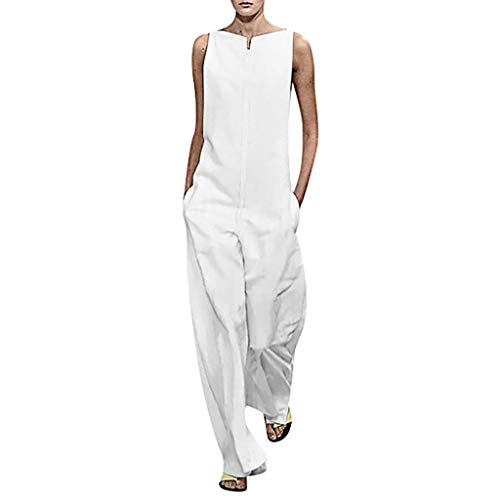 (Tomppy Women Loose Sleevelesss Jumpsuit Ladies Fashion Back Zipper Wide Leg Long Pants Playsuits White)